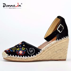 Lady Casual Beads Embroidery Suede Leather Women Rope Wedge Sandals