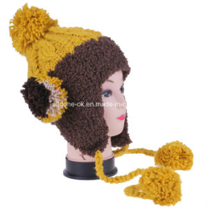Sweet Girls Multicolor Hand-Knit with Velvet Wool Ball Earflap Hat pictures & photos