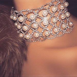 Fashion Full Rhinestone Pearl Collar Diamond Choker Necklace Jewelry pictures & photos