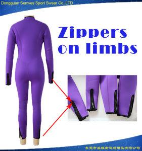 OEM Women Purple Front Zip Full Neoprene Diving Wetsuit pictures & photos