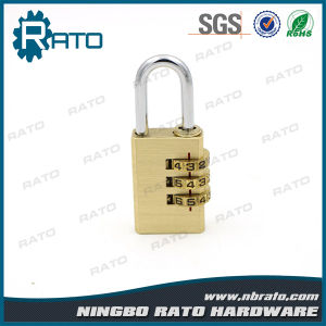 Resettable Zinc Alloy Wheel 3 Digital Polishing Coppery Padlock