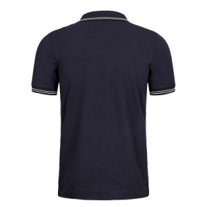 Custom Fashion Men Black Cotton Short Sleeve Pique Polo Shirts pictures & photos