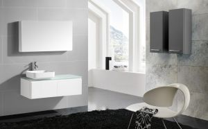 PVC Bathroom Cabinet with Glass Worktop and Ceramic Basin pictures & photos