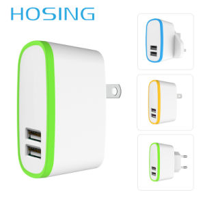 2.1A Dual USB Black/White/ OEM Color Travel Charger pictures & photos