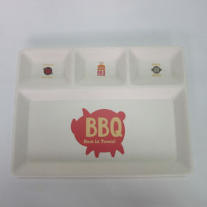 Bamboo Fiber BBQ 4 Divide Plate Small pictures & photos
