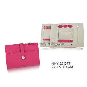 Pink Leather with Crytal Decoration Gift Jewelry Pouch Jewelry Roll