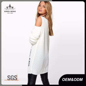 Distressed Ladder Knit Cold Shoulder V Neck Women′s Sweaters pictures & photos