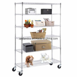 NSF Portable Adjustable Metal Wire Storage Rack with Wheels pictures & photos