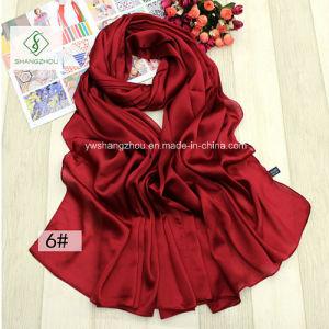 2017 High Quality Plain Silk Satin Shawl All-Match Fashion Scarf pictures & photos