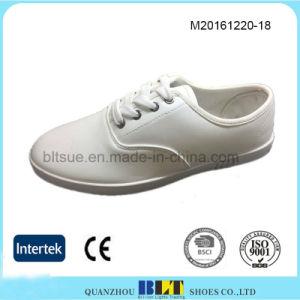 White Color PVC Outsole Lace-up Men′s Shoes pictures & photos