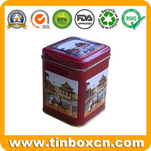 Square Tea Caddy with Airtight Lid, Tea Tin Box pictures & photos