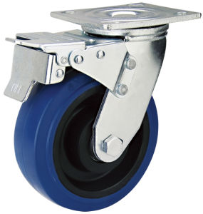 8inch Blue Elastic Rubber Caster Wheel with Brake (HE-A-200-KBL)