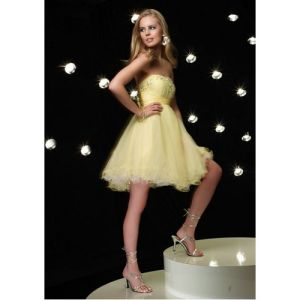 Tulle Party Formal Dress in Yellow