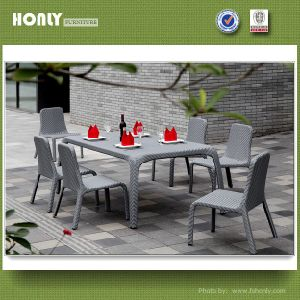 Rectangle Aluminum Rattan Dining Set Outdoor Modern Dining Set