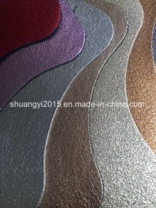 Shining Surface Microfiber Leather Combine Split Leather for Shoes pictures & photos