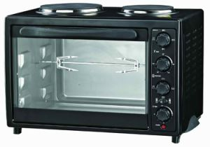 Electric Oven Toaster with Grill Hotplate 1200W+500W, Convection and Rotisserie Function, Indicator Light