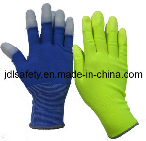 Colorful Work Glove with PU Finger Top Coated (PN8016) pictures & photos