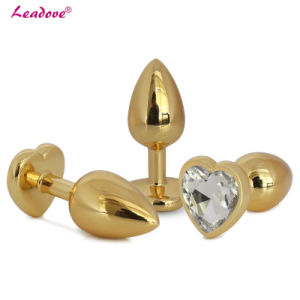 5PCS/Lot Hot Sell Golden Heart Shaped Stainless Steel Crystal Jewelry Anal Butt Plug Sex Toys Medium Size 35mm X 80mm GS0314 pictures & photos
