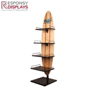 Hot Sale Customized 4 Layers Wood and Metal Floor Display Stand for Wine pictures & photos