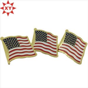 America Three Flag Soft Enamel Lapel Pin Badge pictures & photos