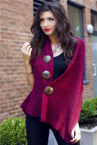 Lady Coconut Button Fashion Acrylic Knitted Scarf Shawl (YKY4424-3) pictures & photos
