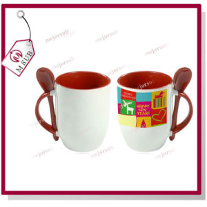 12oz Promotional Sublimation Ceramic Colored Spoon Mug pictures & photos