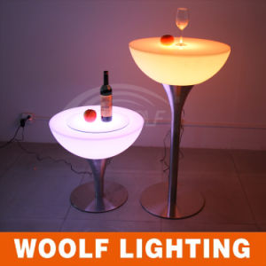 LED Plastic Glass Top Round Rotating Coffee Tables pictures & photos