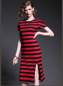 OEM Fashion European Style Stripe Sexy Dress for Women pictures & photos