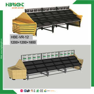 Supermarket Wooden Vegetable and Fruit Display Shelf with End Shelf pictures & photos