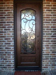 Front Exterior Iron Single Door with Glue Chip Glass pictures & photos
