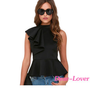 Fashion Asymmetric Ruffle Side Peplum Top pictures & photos