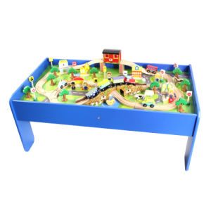 Wooden Train Track with Table Toy