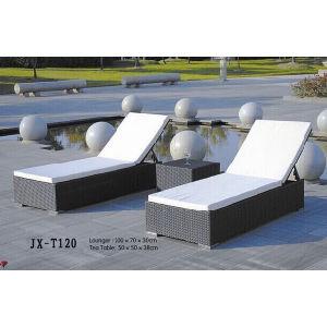 Rattan Furniture Outdoor Beach Garden Sun Lounge with Mini Table