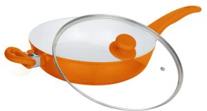 Cast Aluminum Deep Frypan with Glass Lid