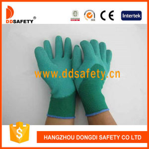 Ddsafety 2017 Green Nylon Green Latex Gloves Safety Glove pictures & photos
