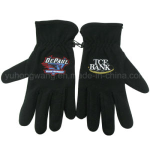 Winter Warm Single Layer Polar Fleece Gloves with Embroidery pictures & photos