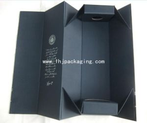 High Quality Folding Wine Box with Silver Foil Stamping