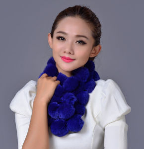 Lady Fashion Rex Rabbit Fur Ball Winter Scarf (YKY4398) pictures & photos