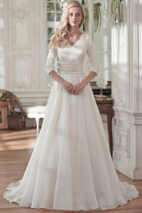 3/4 Sleeves Bridal Formal Gowns Lace Organza Wedding Dress A20177 pictures & photos