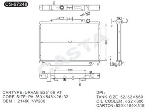 Assembly Car Radiator for Nissan Urvan E25′06 at pictures & photos