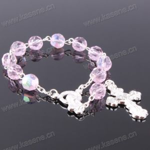 Pink 6mm Ab Section Crystal Rosary Bracelet pictures & photos