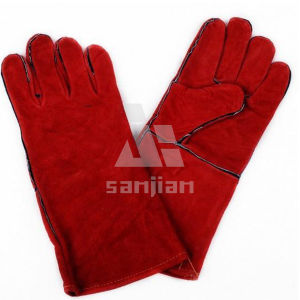 Red Double Plam CE Welding Safety Glove with Leather Grade a/Ab/Bc pictures & photos