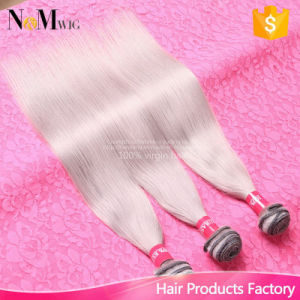 Brazilian Straight Grey Hair Weave Human Hair Weaving Extensions Machine Weft Silky Straight Gray Brazilian Hair pictures & photos