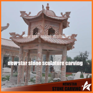 Chinese Sunset Red Marble Pavilion with Dragon Carving pictures & photos