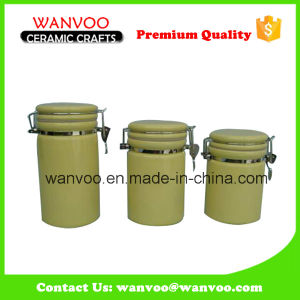 Eco-Friendly Yellow Ceramic Kitchen Storage Canister pictures & photos