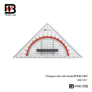Protractor and Triangular Plastic Ruler for Office Stationery
