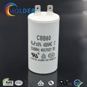 AC Motor Run and Start Capacitor (Cbb60 605j 450VAC) with High Voltage and 2 Pins /Ce/UL/VDE/RoHS/CQC All Series) /Wholesale Factory pictures & photos
