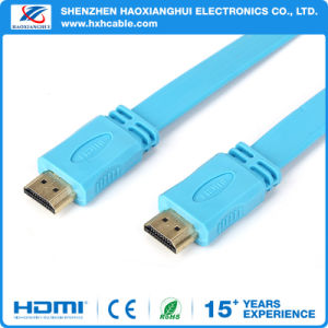 Version1.4 Flat TV Cable Gold Plated HDMI Cable with 3D pictures & photos
