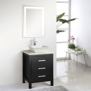 Hotel Floor Mounted Double Sink Solid Wood Bathroom Furniture pictures & photos