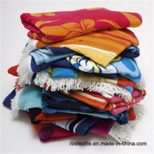 Custome Made Cotton Jacquard Velour Beach Towel pictures & photos